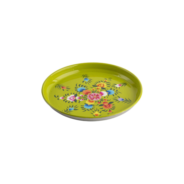 Hand-Painted Floral Stainless Steel Plates Set Image 1