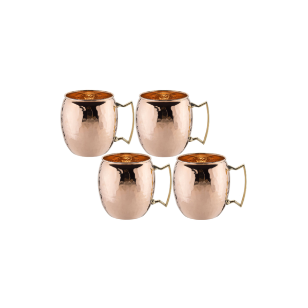 Solid Copper Moscow Mule Mugs - Hammered Image 1