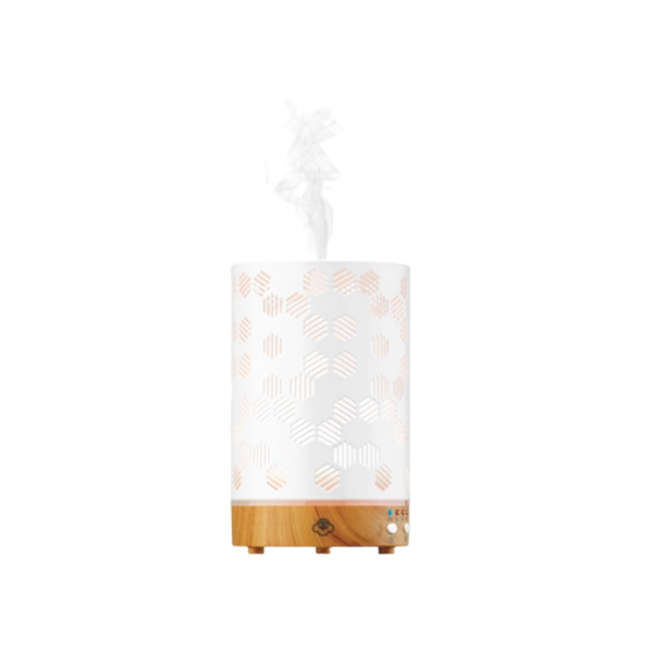 Honeycomb White Metal Diffuser with LED Lights Image 1